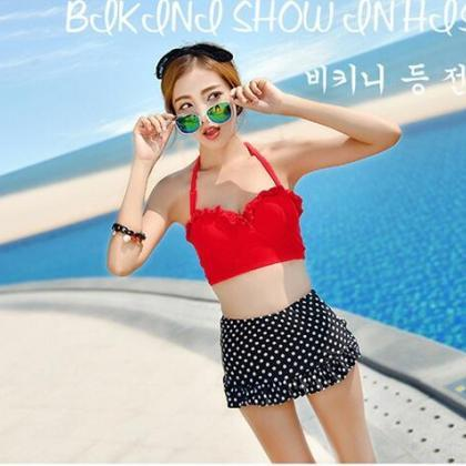 Cute Polka Dot Halter Swimwear Bkin..