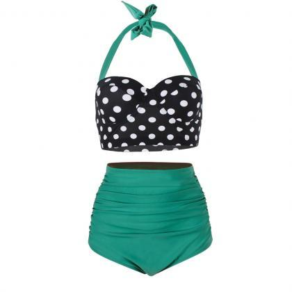 Lady Swimwear Retro Halter Polka Do..