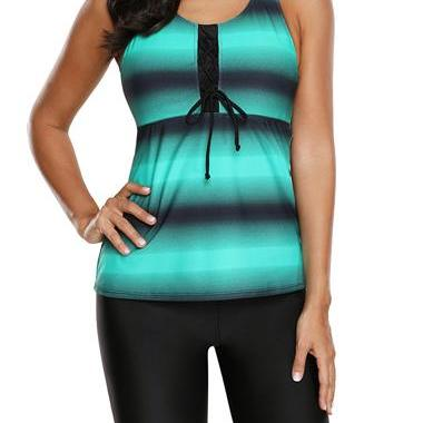 Lace Up Front Printed Tankini Top a..