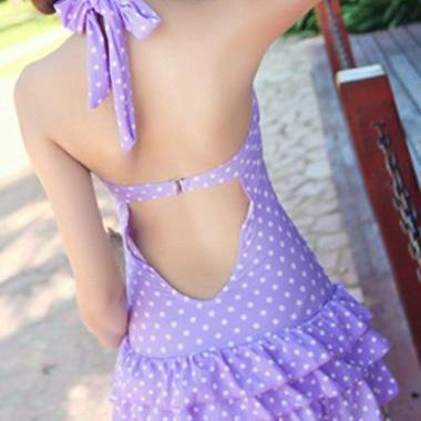 Cute Polka Dot Halter Flounce One P..