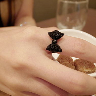 Cute Vogue Black Bow Rings for Girl..