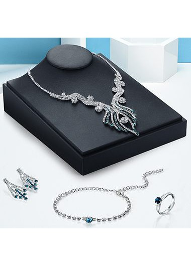 Free Shipping Flower Shape Decorated Silver Metal Necklace Set