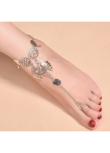 Free Shipping Silver Metal Tassel Anklet for Woman