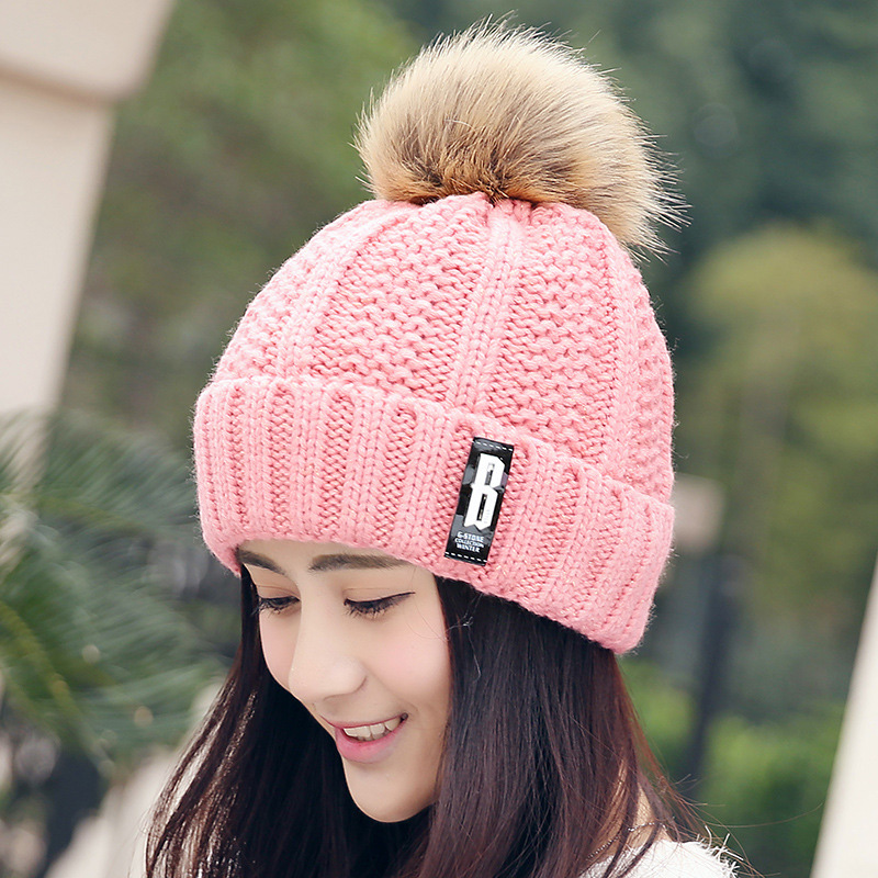 Free Shipping Fashion Winter Cute Hat Knitted Cap - PInk