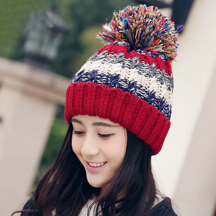 Free Shipping Women Color Block Cute Hat Knitted Cap With Elasticity - Red