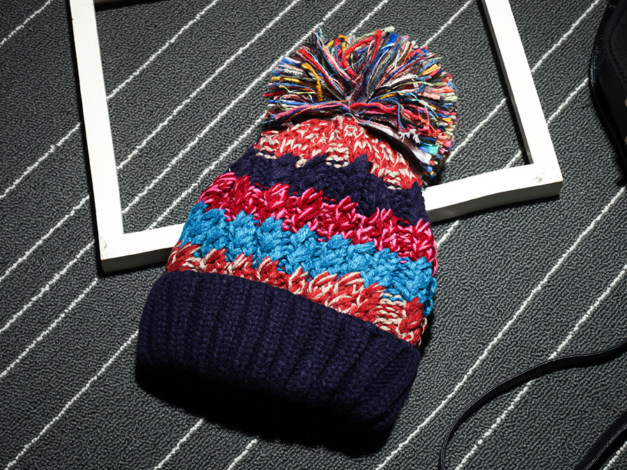 Free Shipping Women Color Block Cute Hat Knitted Cap With Elasticity - Navy Blue