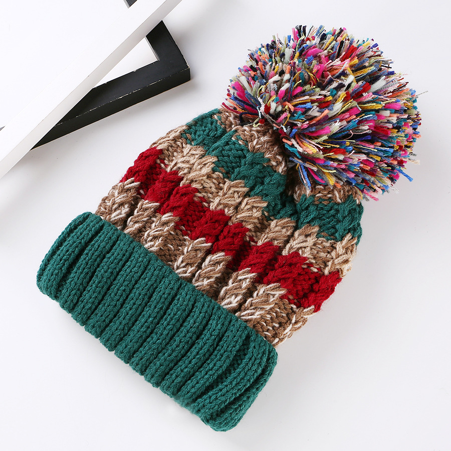 Free Shipping Women Color Block Cute Hat Knitted Cap With Elasticity - Green