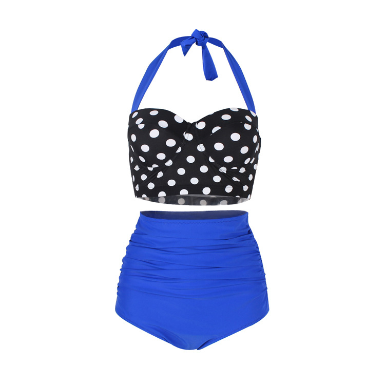 Lady Swimwear Retro Halter Polka Dot High Waisted Bikini Swimsuit - Blue