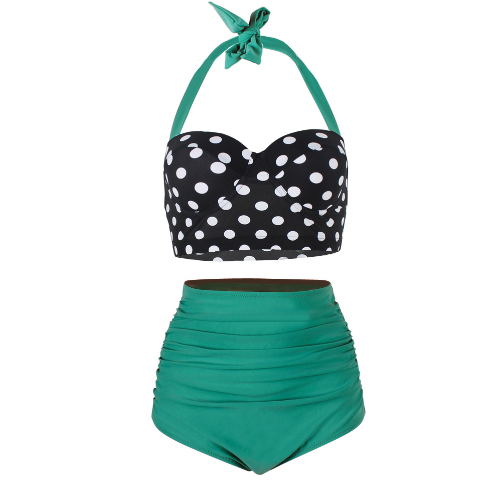 Lady Swimwear Retro Halter Polka Dot High Waisted Bikini Swimsuit - Green