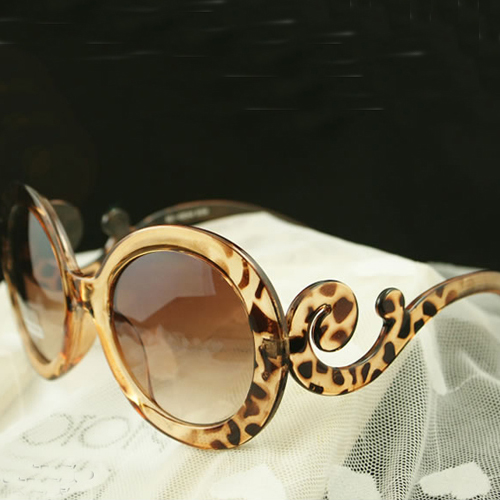 Free shipping European Style Weave Embellished PC Sunglasses - Leopard