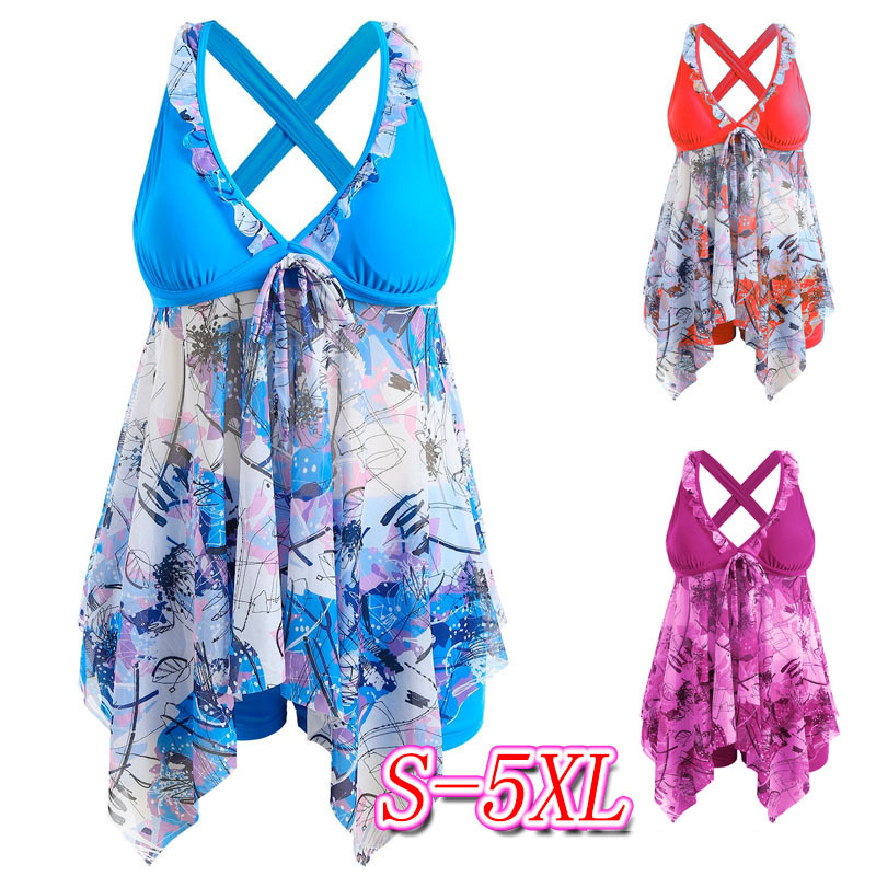 Plus size printed ruffle tankini set