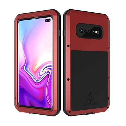 Samsung Galaxy S10 Plus Case with Built in Glass Screen Protector Full Body Wireless Charging Sturdy Hard Cover Shockproof Dustproof Metal Silicone Heavy Duty for Samsung S10 Plus —Red