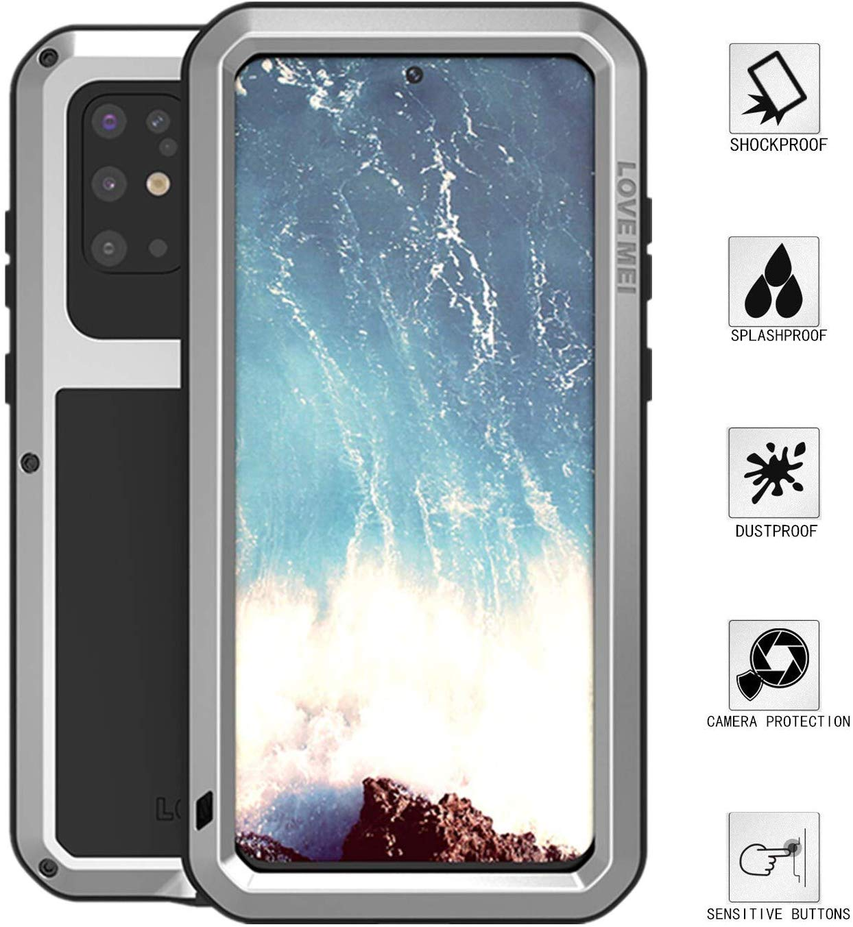 High Quality Aluminum Aluminum Metal Gorilla Glass Waterproof Shockproof Military Heavy Duty Sturdy Protector Cover Hard Case for Samsung Galaxy S20 Plus (Silver, S20 Plus)