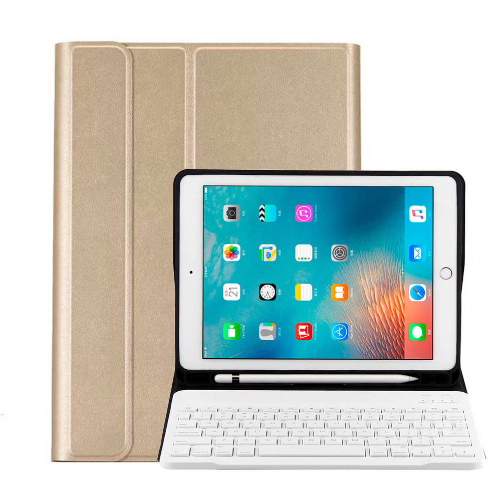 High Quality For iPad 7th Gen 2019 10.2 Ultraslim Keyboard Leather Case Cover w/Pencil Holder(Gold+White Keyboard)