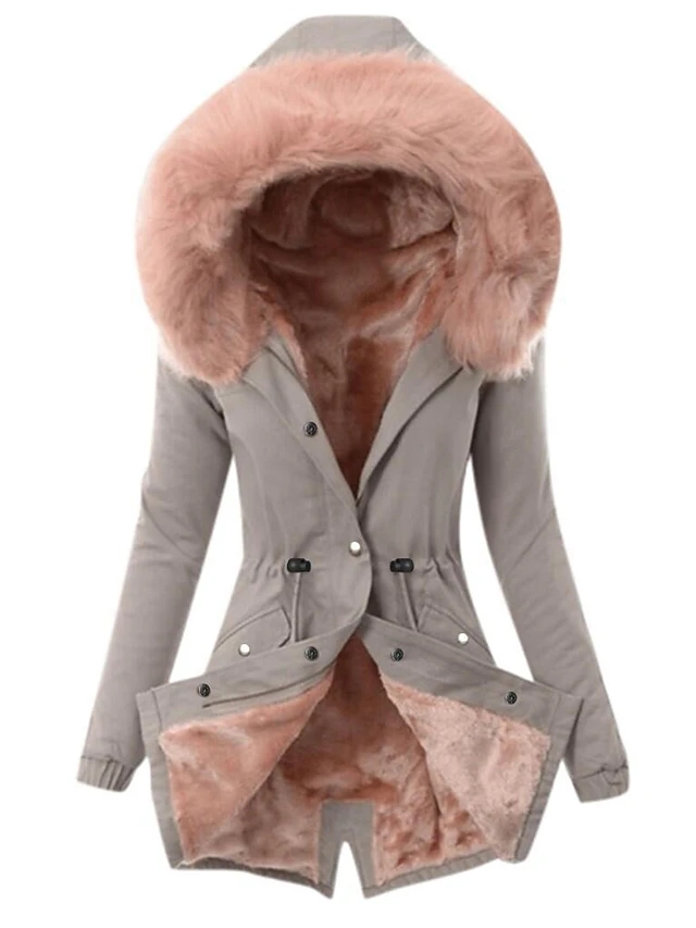 High Quality Women's Parka Parka Solid Colored Long Cotton - Gray