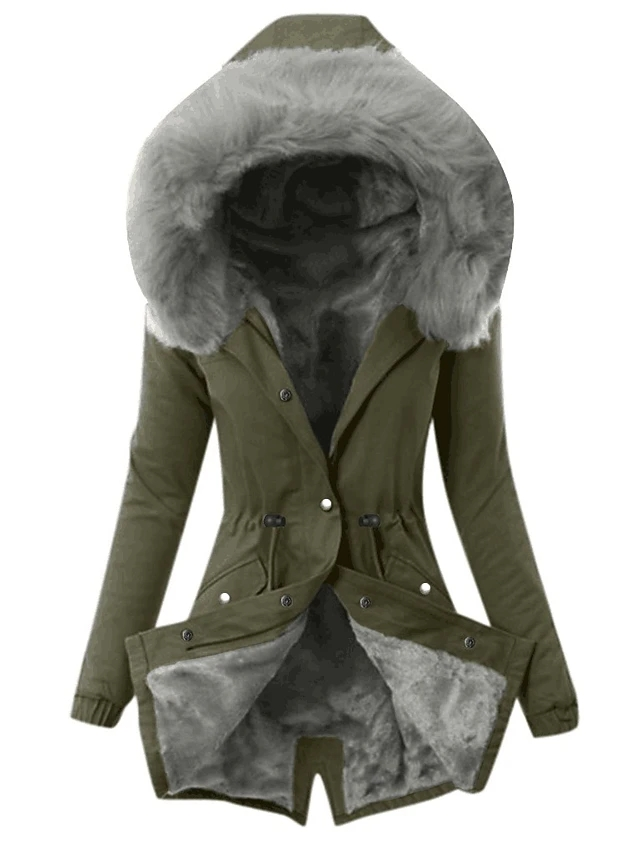 High Quality Women's Parka Parka Solid Colored Long Cotton - Army Green