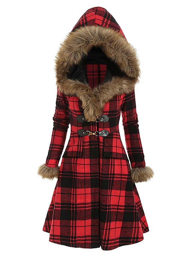 High Quality Women's Fall & Winter Long Plaid Coat - Red