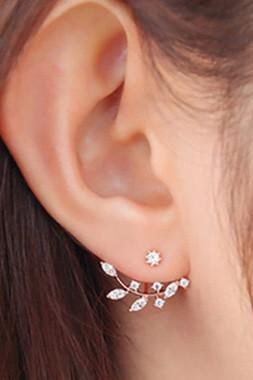 Free Shipping Fashion Rhinestone Decorated Cutout Design Gold Earrings