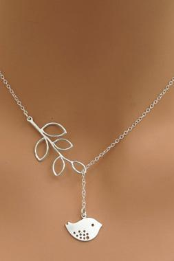 Free Shipping Silver Bird Pendant Leaves Lariat Sterling Necklace For Party