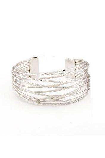 Free Shipping Fashion Silver Metal Hollow Out Wide Bangle for Woman