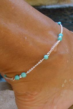 Free Shipping Silver Metal Blue Stone Decorated Anklet