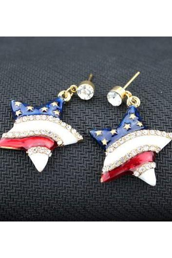 Rhinestone Decorated Star Shape America Flag Earrings
