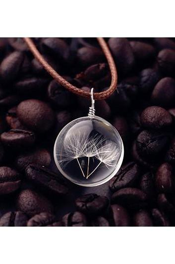 Free Shipping Dandelion Decorated Glass Ball Pendant Woman Necklace