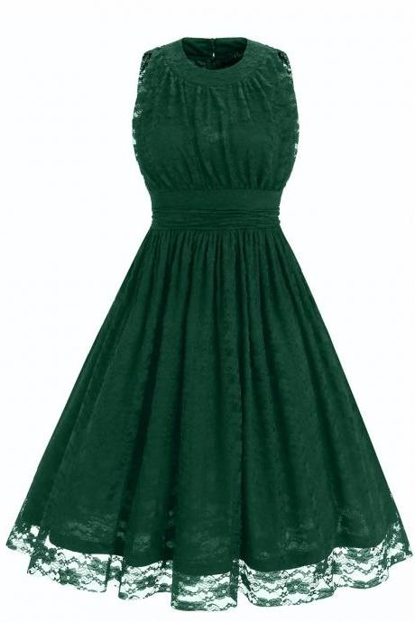 Fshion O Neck Sleeveless Lace Sexy Dress - Green