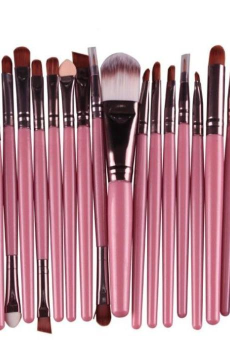 Free Shipping High Quality 20pcs/set Makeup Brush Set Tools Wool Brushes Kits - Pink