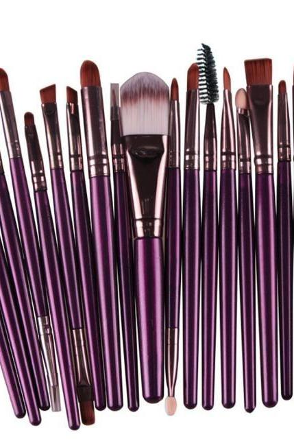Free Shipping High Quality 20pcs/set Makeup Brush Set Tools Wool Brushes Kits - Purple