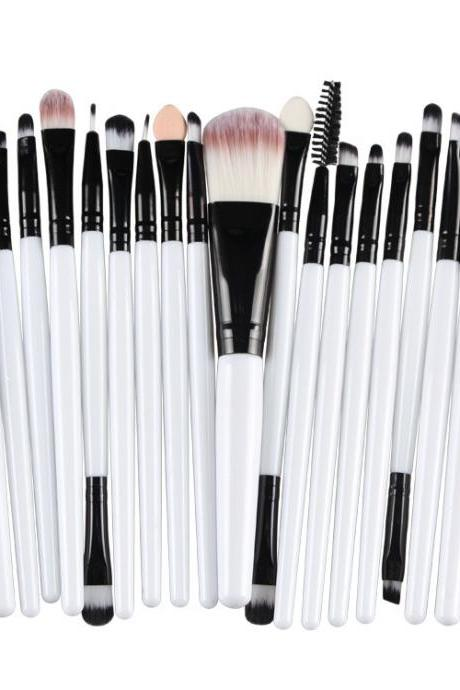 Free Shipping High Quality 20pcs/set Makeup Brush Set Tools Wool Brushes Kits - White&Black
