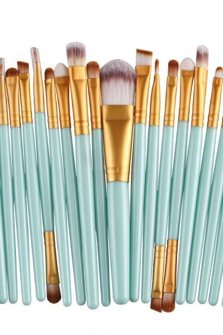 Free Shipping High Quality 20pcs/set Makeup Brush Set Tools Wool Brushes Kits - Green&Gold