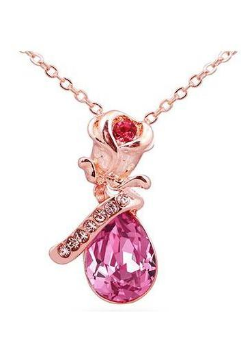 Free Shipping Rose Gold Metal Chain Rhinestone Pendant Necklace