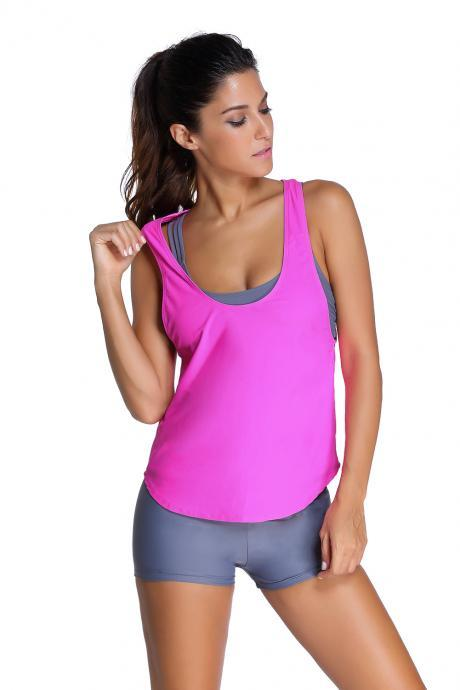 Fashion Grey Sports Bra Tankini Swimsuit with Rosy Vest