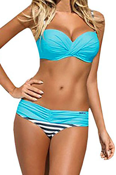 Sexy Striped Padded Gather Push-up Bikini Set - Blue