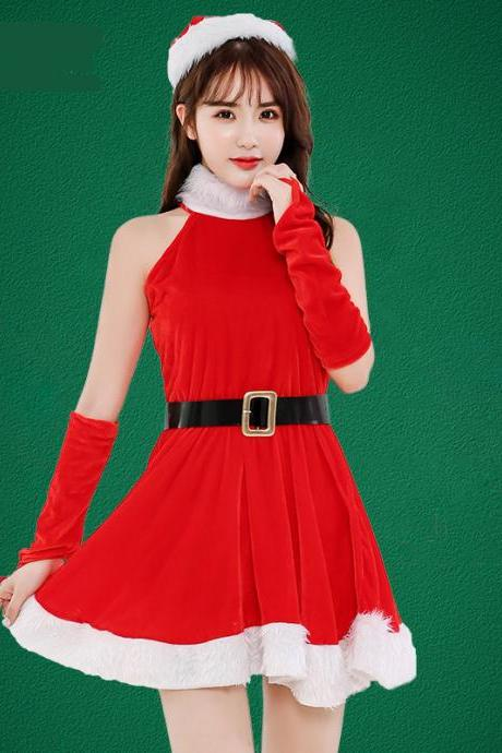 New Red Halter Sexy Christmas Costume Dress