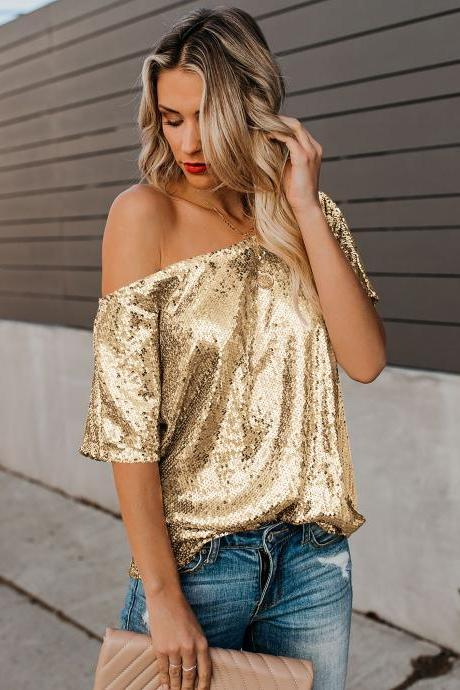 High Quality Seductive Off-shoulder Glistening Sequin Top - Gold