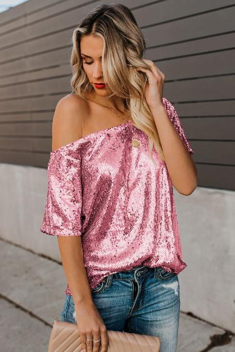 High Quality Seductive Off-shoulder Glistening Sequin Top - Pink