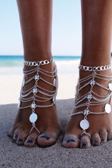 Free Shipping Fashion Coin Decorated Multilayered Metal Anklet - Silver