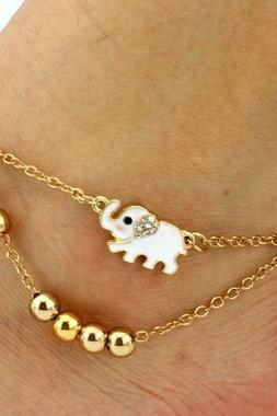 Free Shipping Elephant Decorated Multi Layer Gold Anklet