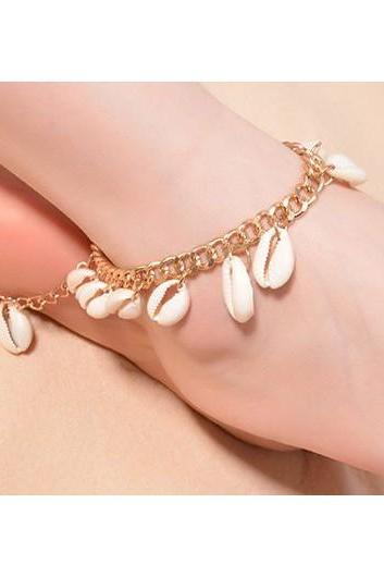 Free Shipping Shell Embellished Metal Chain Anklets - Gold