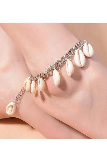 Free Shipping Shell Embellished Metal Chain Anklets - Silver