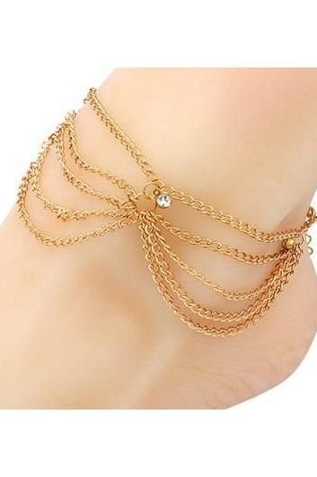 Free Shipping Gold Metal Rhinestone Embellished Layered Anklet