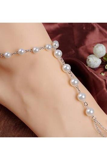 Free Shipping Faux Pearl Decorated Anklet for Woman