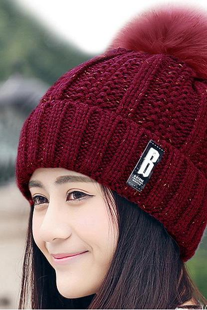 Free Shipping Fashion Winter Cute Hat Knitted Cap - Red