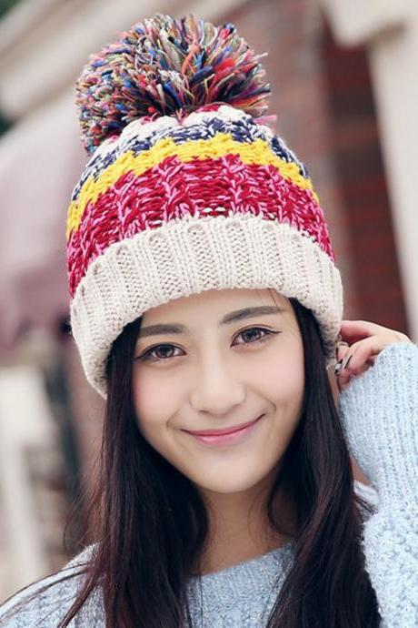 Free Shipping Women Color Block Cute Hat Knitted Cap With Elasticity - Beige