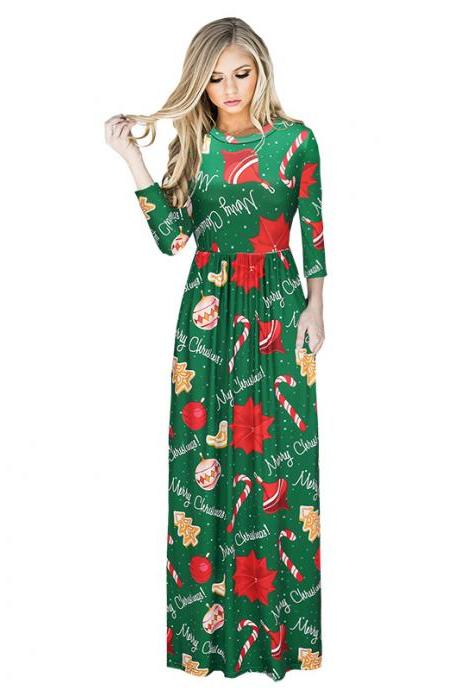 Free Shipping Fashion Floral Christmas Maxi Dress 1208 - Green