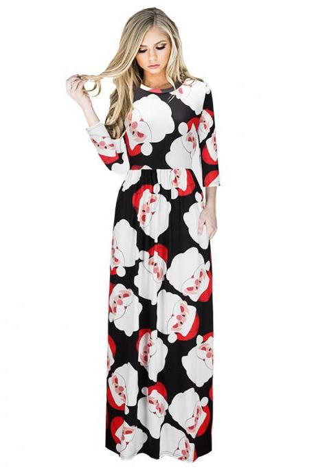 Free Shipping Santa Claus Christmas Maxi Dress 1199