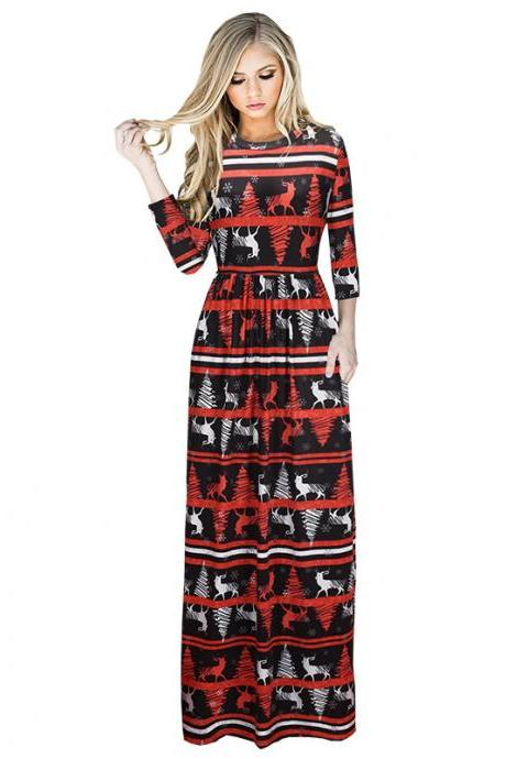 Black and Red Christmas Print Maxi Dress