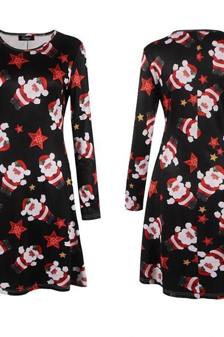 Free Shipping Snow Man Long Sleeve Christmas Skater Dress - Black